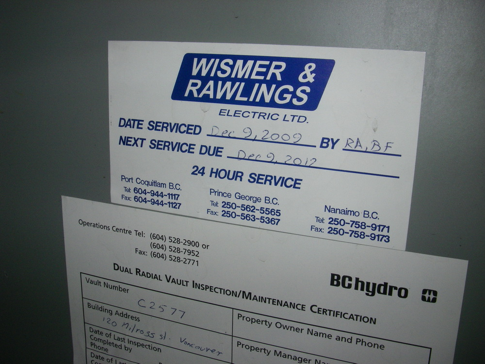 Date stamp for electrical substation service