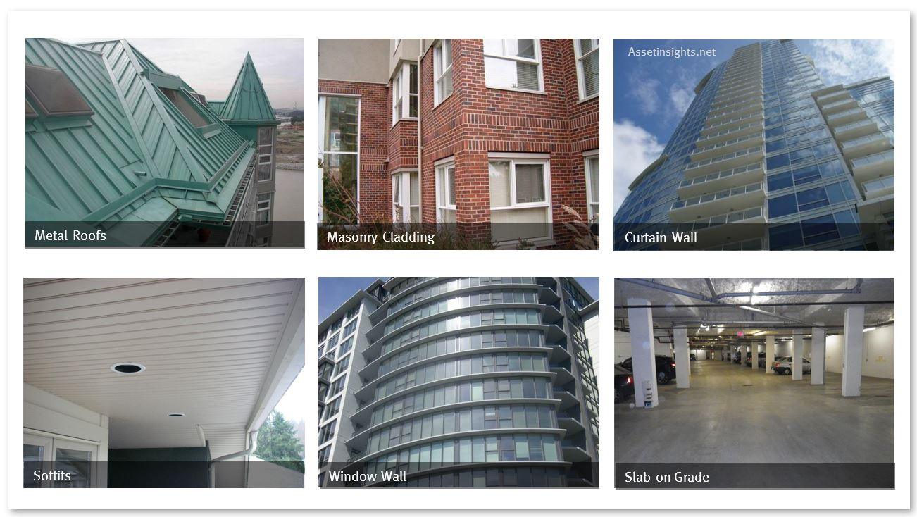 Some examples of long life assets within the building enclosure system