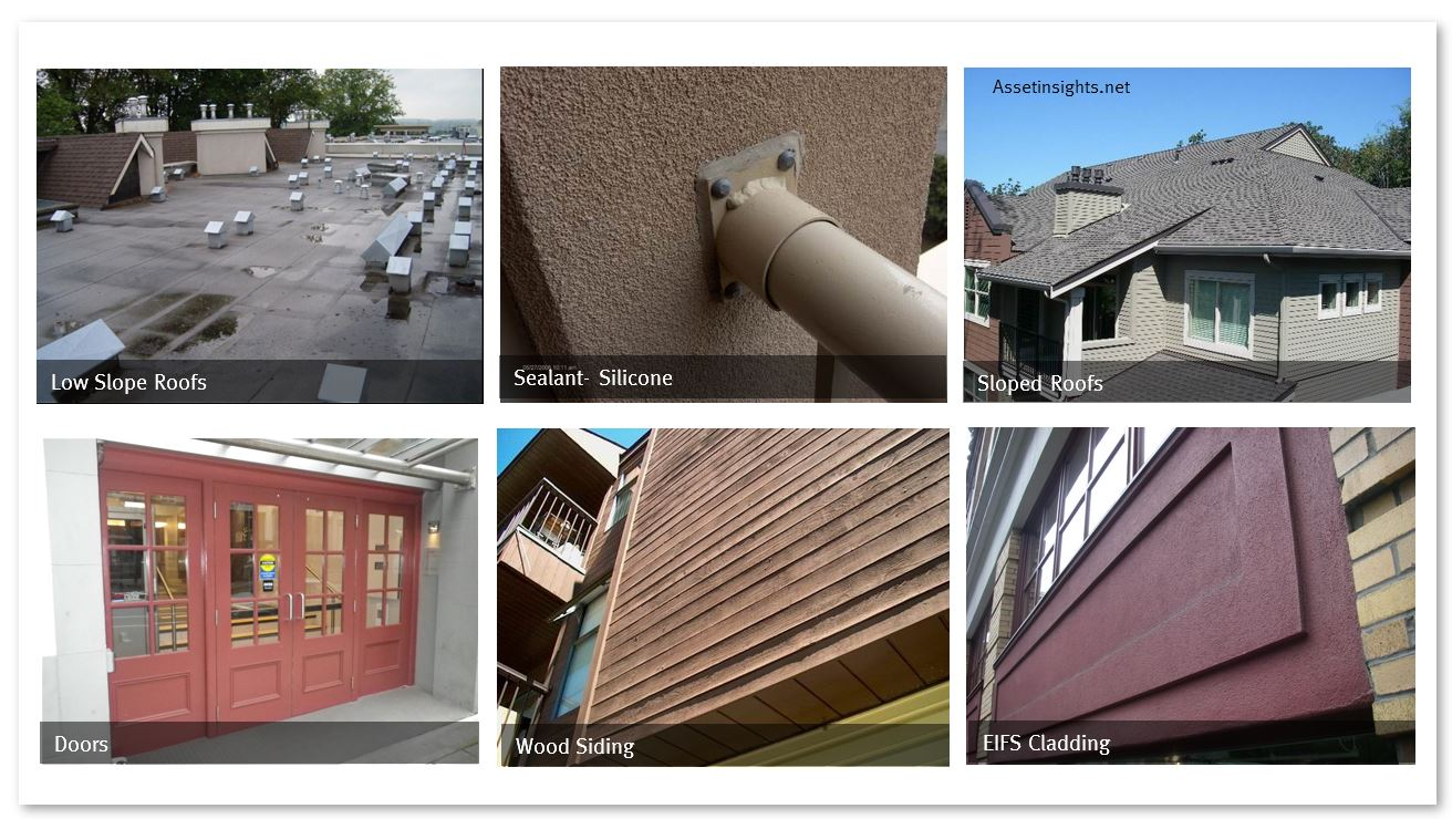Some examples of medium life assets within the building enclosure system
