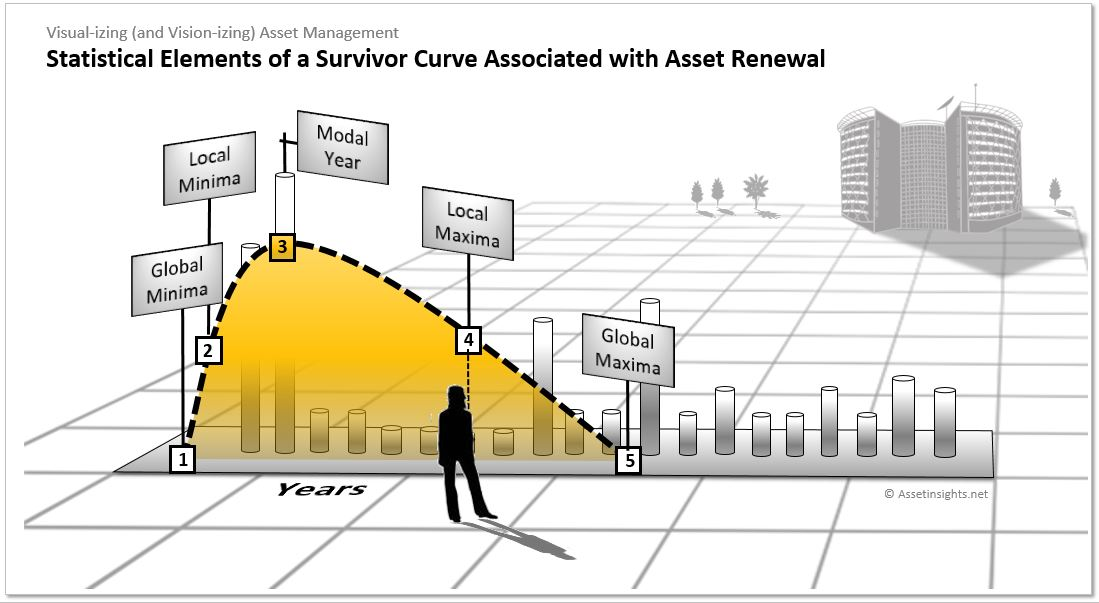 Some of the key statistical elements of an asset survivor curve