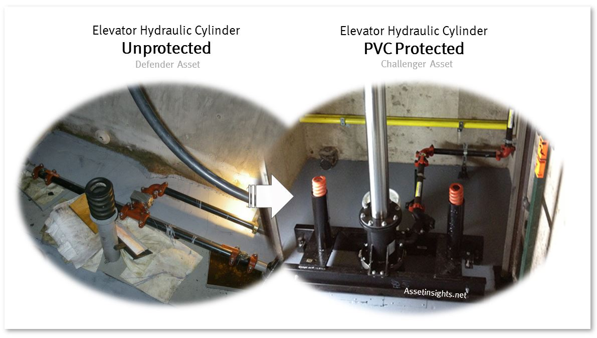 Retrofit of elevator hydraulic cylinder with PVC corrosion protection