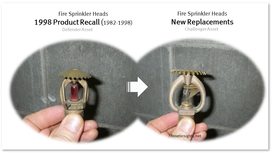 Sprinkler head retrofit due to legal obsolescence arising from a product recall