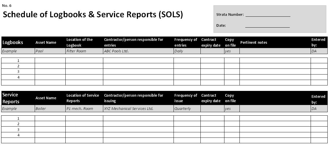Schedule of Logbooks and Service Reports - excerpt